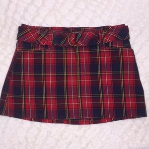 Abercrombie & Fitch Red Plaid Belted Mini Skirt